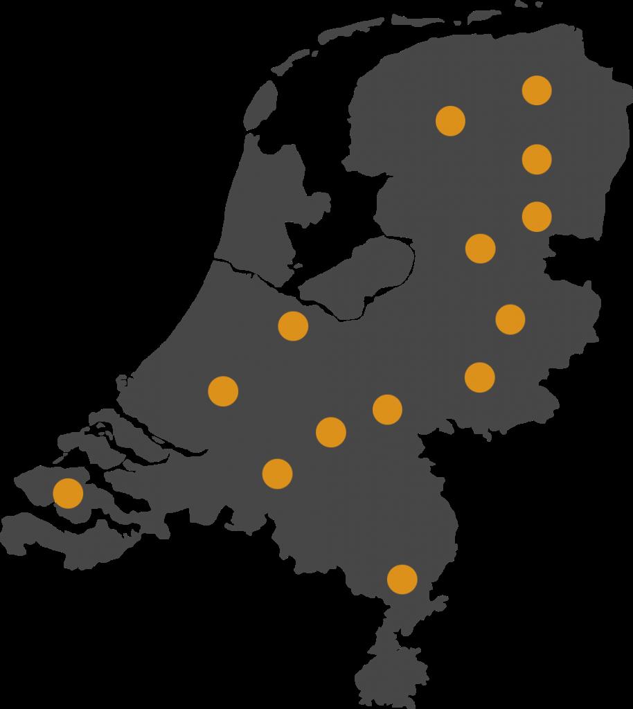landkaart met Tyrenet vestigingen